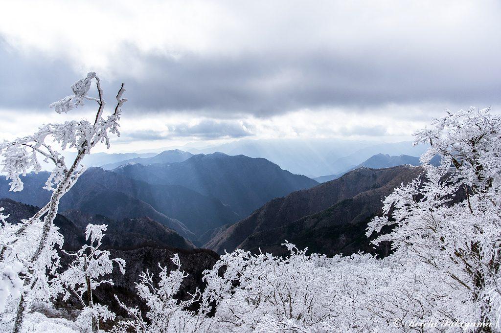 薄日が差し込む南側の登尾から白髭岳方面