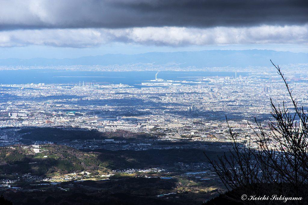 大阪湾、六甲山の山々もくっきり見えていました。