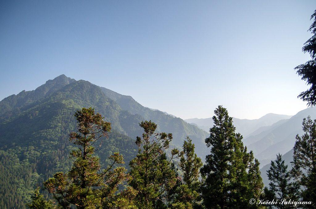 北側にはバリゴヤノ頭、稲村ヶ岳と奥駆け道の稜線