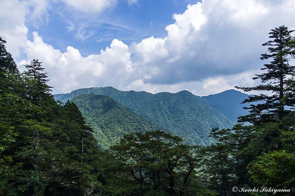 夏らしい雲と山上ヶ岳から続く大峰奥駆道の稜線