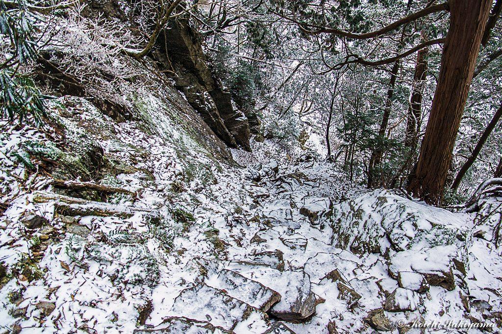 小普賢岳のコルへ下る急坂…中途半端でいやらしい状態