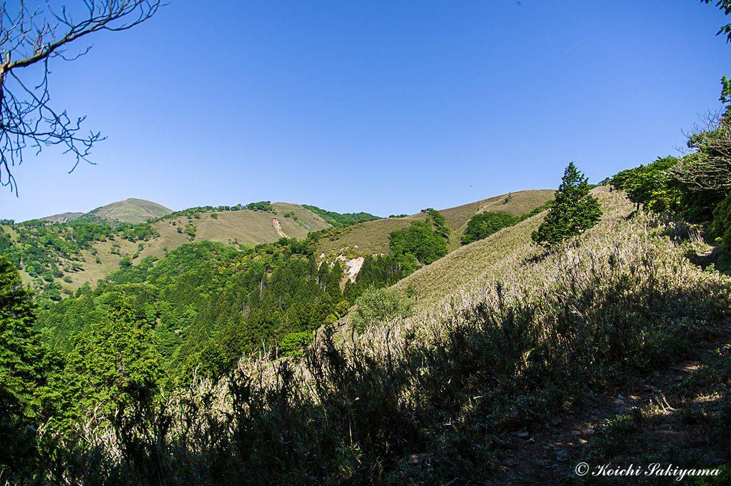 遠足尾根の稜線と竜ヶ岳