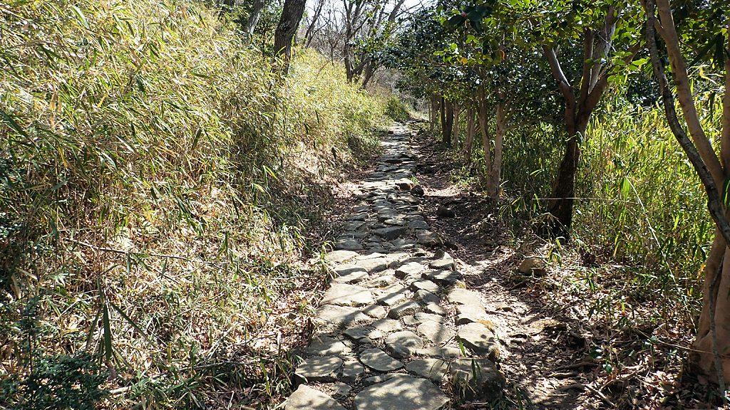 管理道から分かれて石畳の道